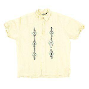 John Henry Men's Button Shirt Short Sleeve Beige L